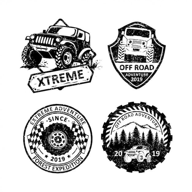 Conjunto de etiquetas de insignias de offroad vintage, emblemas y logotipo Vector Premium
