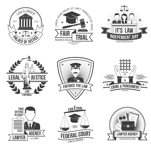 Conjunto de etiquetas de justicia vector gratuito