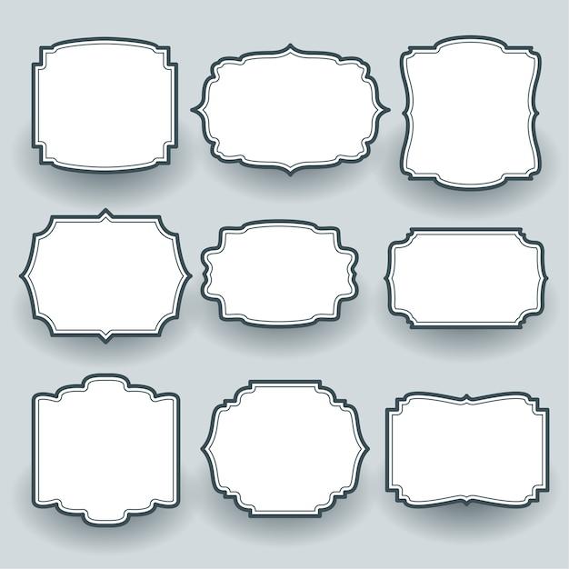 Conjunto de etiquetas de marco vacío vintage de nueve vector gratuito