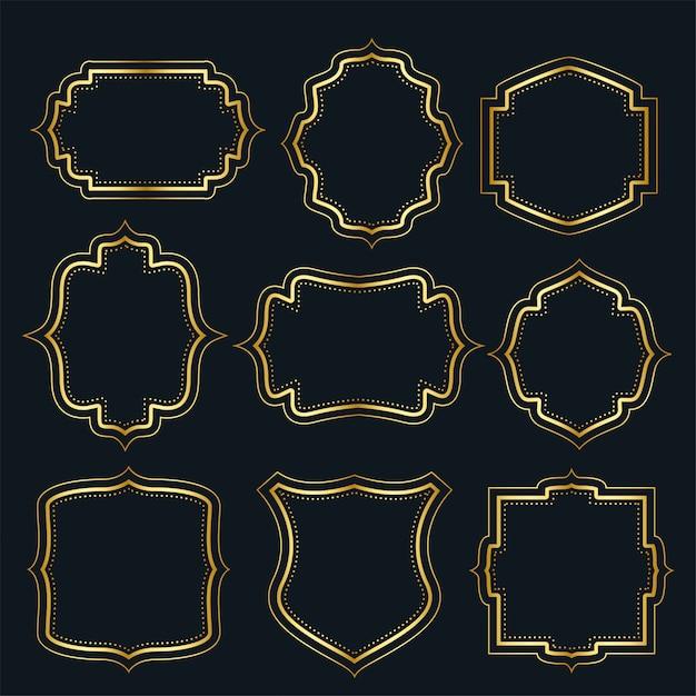 Conjunto de etiquetas de marco vintage dorado vector gratuito