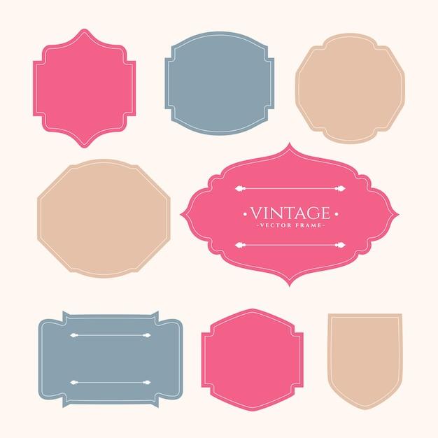 Conjunto de etiquetas de marco vintage de ocho vector gratuito