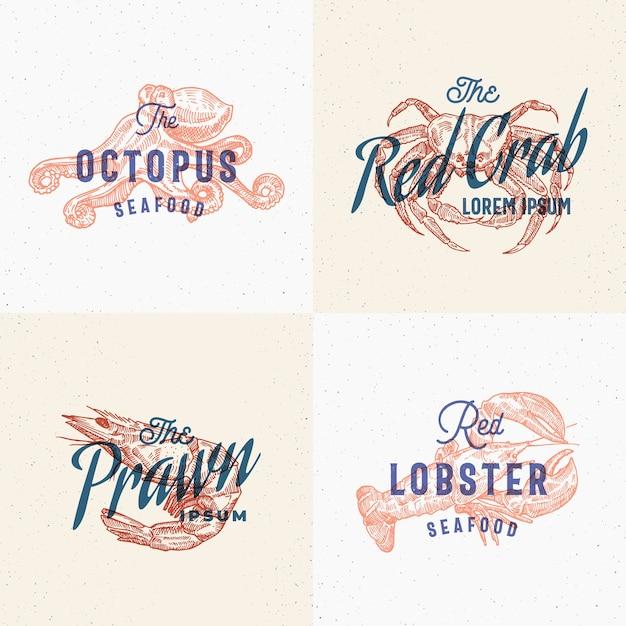 Conjunto de etiquetas de mariscos. tarjetas de efectos de impresión retro. vector gratuito
