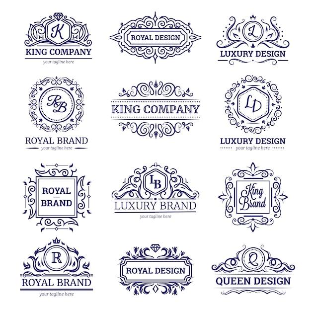Conjunto de etiquetas monocromas con diseño de lujo. vector gratuito