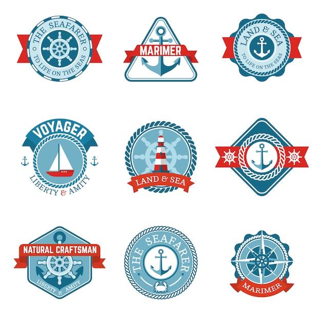 Conjunto de etiquetas náuticas vector gratuito