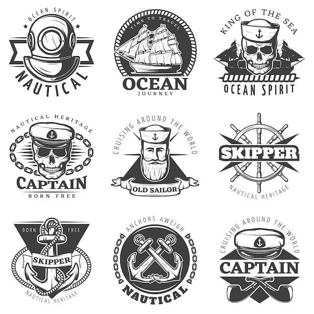 Conjunto de etiquetas navales marinero vintage vector gratuito