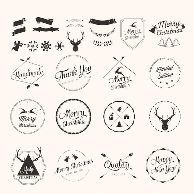 Conjunto de etiquetas de navidad vector gratuito