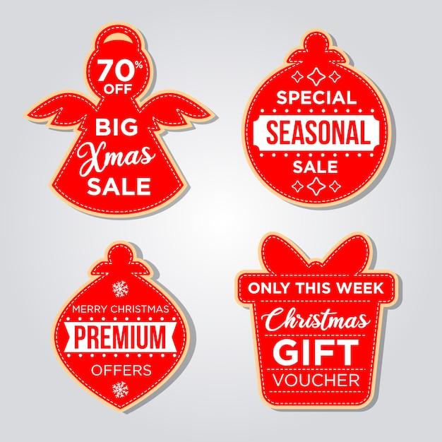 Conjunto de etiquetas navideñas en estilo de diseño plano Vector Premium