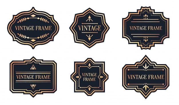 Conjunto de etiquetas negras retro con marco de oro rosa vintage. forma diferente para la etiqueta engomada del paquete. Vector Premium