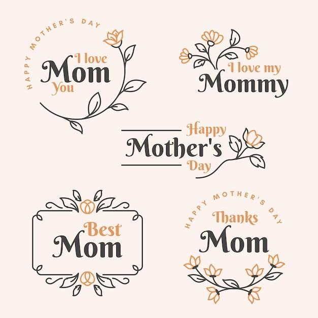 Conjunto de etiquetas planas para el día de la madre vector gratuito