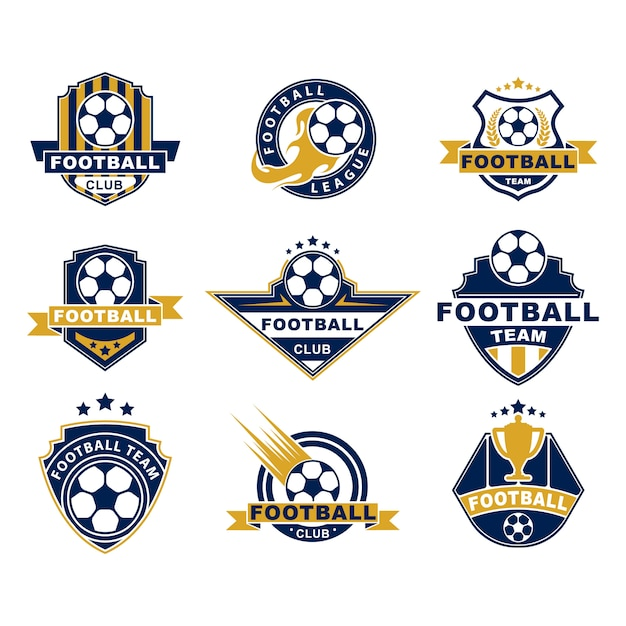 Conjunto de etiquetas planas de equipo o club de fútbol vector gratuito