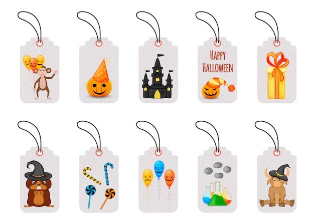 Conjunto de etiquetas de precio de halloween o etiquetas Vector Premium