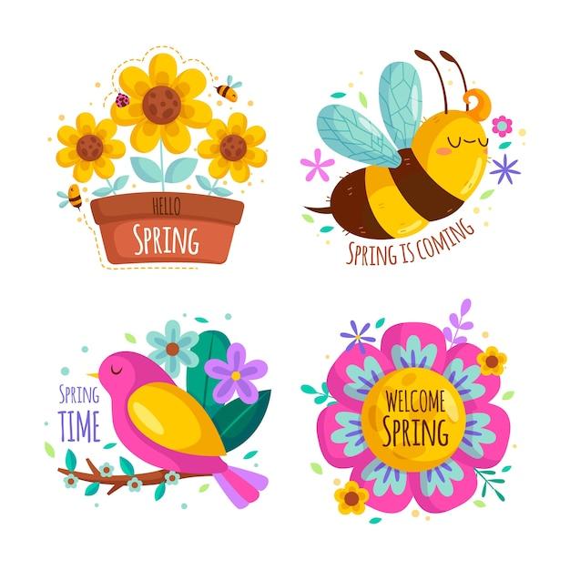 Conjunto de etiquetas de primavera de diseño plano vector gratuito