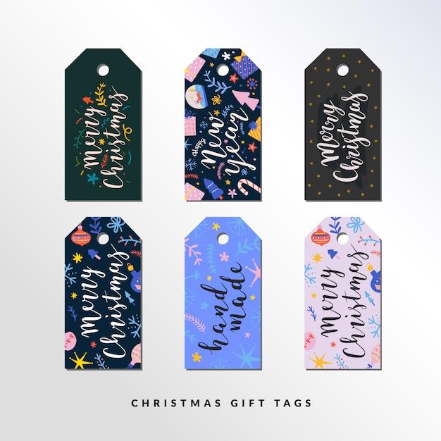 Conjunto de etiquetas de regalo para navidad y año nuevo Vector Premium