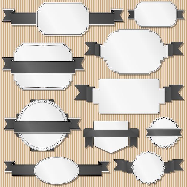 Conjunto de etiquetas retro con cintas. Vector Premium