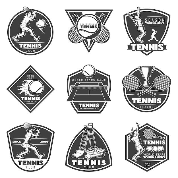 Conjunto de etiquetas de tenis vintage monocromo vector gratuito