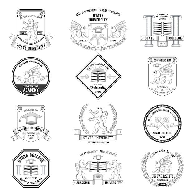 Conjunto de etiquetas universitarias vector gratuito