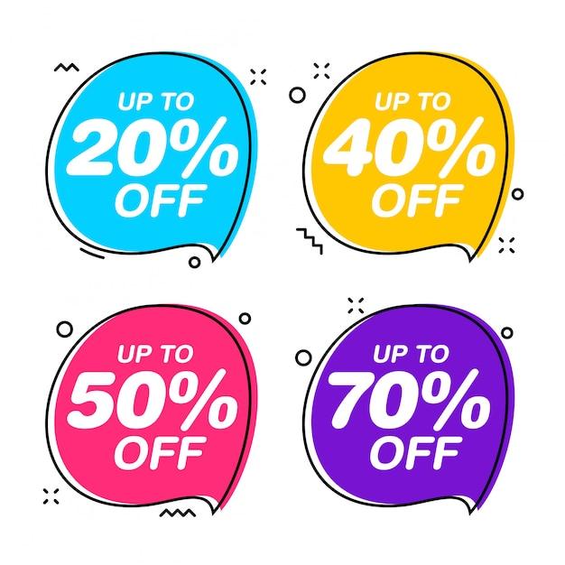 Conjunto de etiquetas de venta de burbujas de discurso. ilustración plana de etiqueta roja de descuento Vector Premium