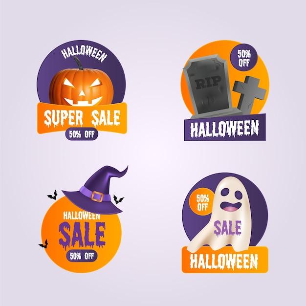 Conjunto de etiquetas de venta de halloween vector gratuito