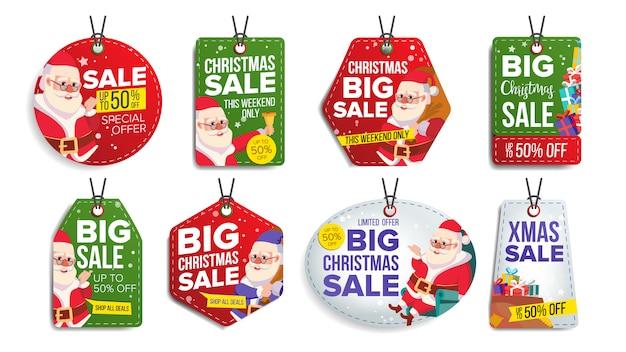 Conjunto de etiquetas de venta de navidad Vector Premium