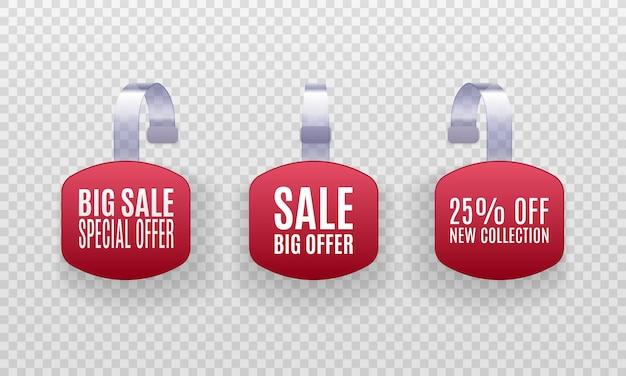 Conjunto de etiquetas de venta de promoción wobbler rojo 3d detalladas realistas aisladas sobre fondo transparente. Vector Premium