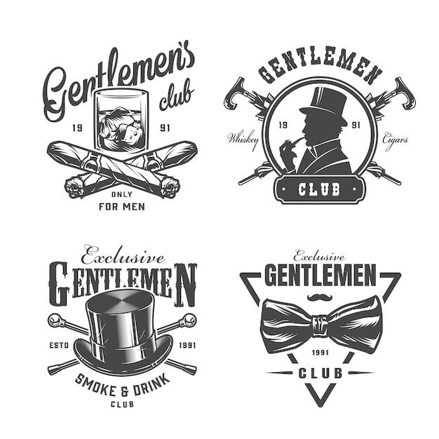 Conjunto de etiquetas vintage caballero monocromo vector gratuito