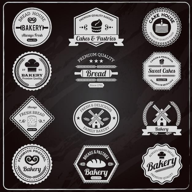 Conjunto de etiquetas vintage panadería pizarra vector gratuito