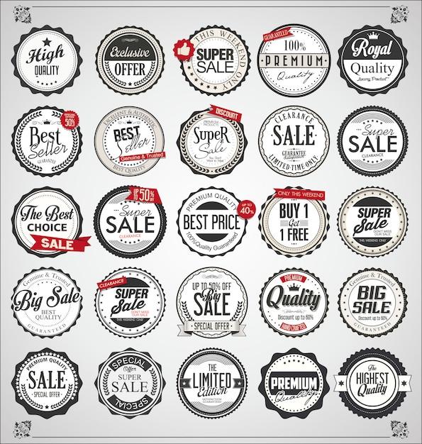 Conjunto de etiquetas vintage retro y distintivos Vector Premium