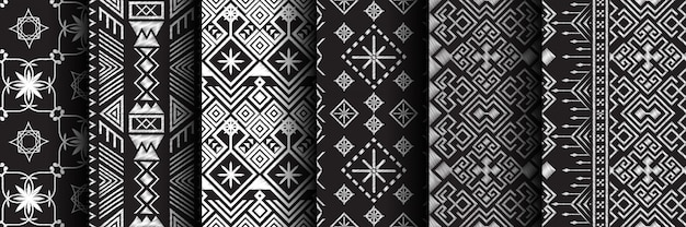Conjunto étnico de patrones sin fisuras Vector Premium