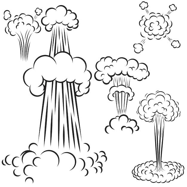Conjunto de explosiones de estilo cómic sobre fondo blanco. elemento de cartel, tarjeta, banner, flyer. ilustración Vector Premium