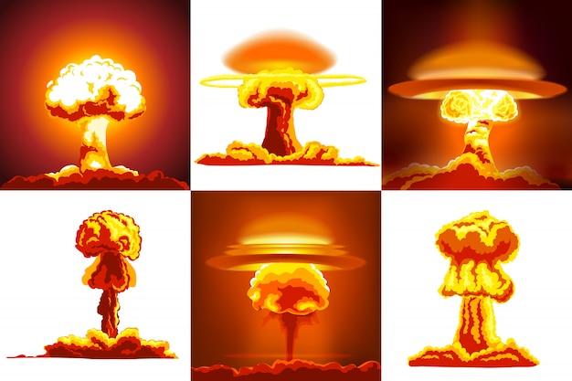 Conjunto de explosiones nucleares Vector Premium