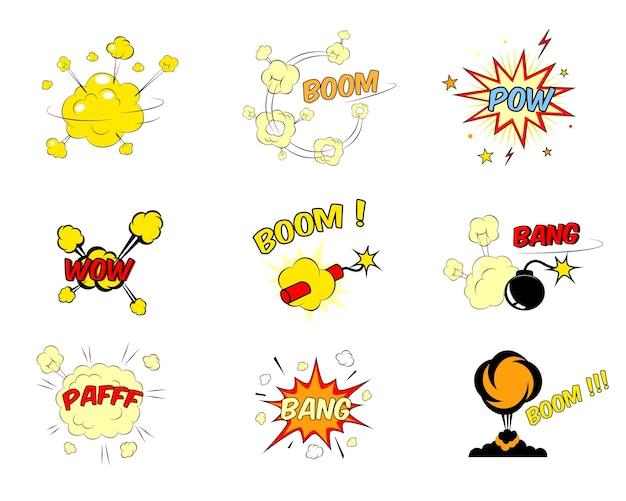 Conjunto de explosiones de texto de dibujos animados cómicos de colores rojo y amarillo brillante que representan un auge vector gratuito
