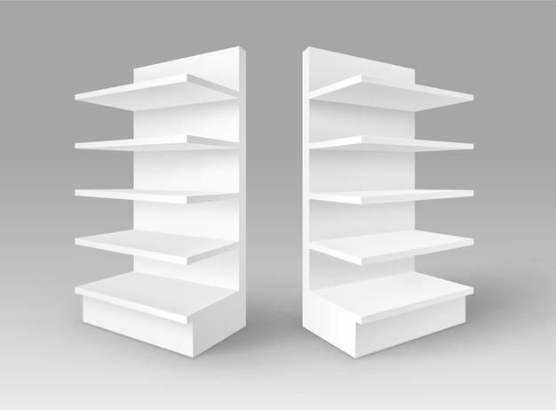 Conjunto de expositores comerciales vacíos en blanco blanco stands shop racks con estantes escaparates aislados sobre fondo Vector Premium