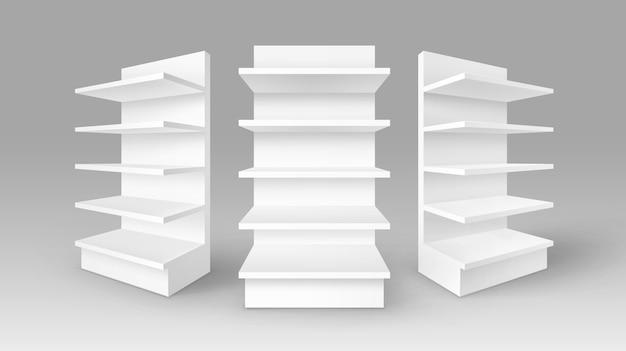 Conjunto de expositores comerciales vacíos en blanco blanco stands shop racks con estantes escaparates en el fondo Vector Premium