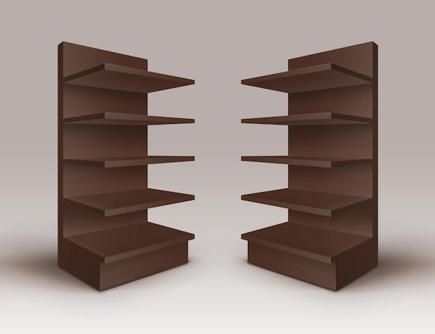 Conjunto de expositores comerciales vacíos en blanco marrón stands shop racks con estantes escaparates aislados sobre fondo Vector Premium