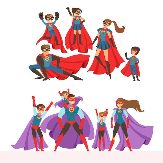 Conjunto de familia de superhéroes. sonrientes padres y sus hijos vestidos con trajes de superhéroes coloridas ilustraciones Vector Premium