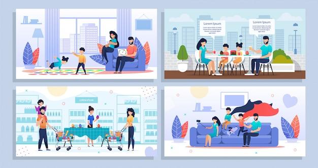 Conjunto familiar de actividades y recreación diaria en el hogar Vector Premium