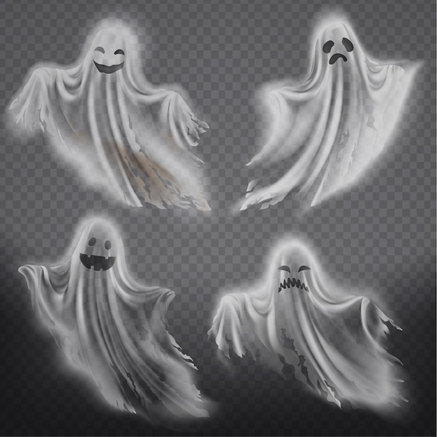 Conjunto de fantasmas translúcidos - felices, tristes o enojados, sonriendo siluetas fantasmas vector gratuito