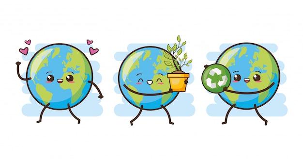 Conjunto de feliz tierra kawaii, ilustración vector gratuito