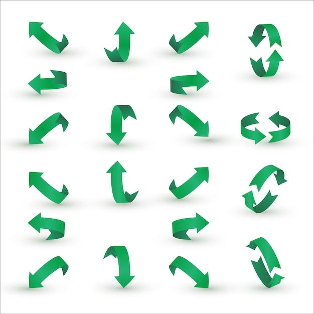 Conjunto de flecha de cinta verde. Vector Premium