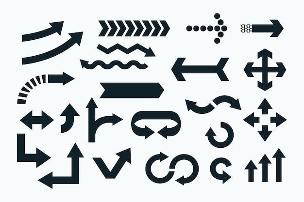 Conjunto de flecha negra de diseño plano vector gratuito