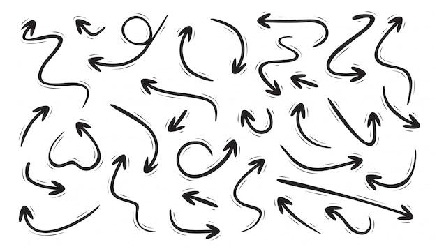 Conjunto de flechas curvas dibujadas a mano Vector Premium