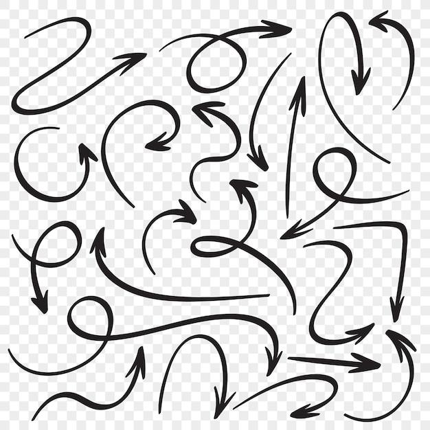 Conjunto de flechas dibujadas a mano. punteros de flecha de dibujos animados. conjunto de vector de dibujo de puntero de dirección Vector Premium