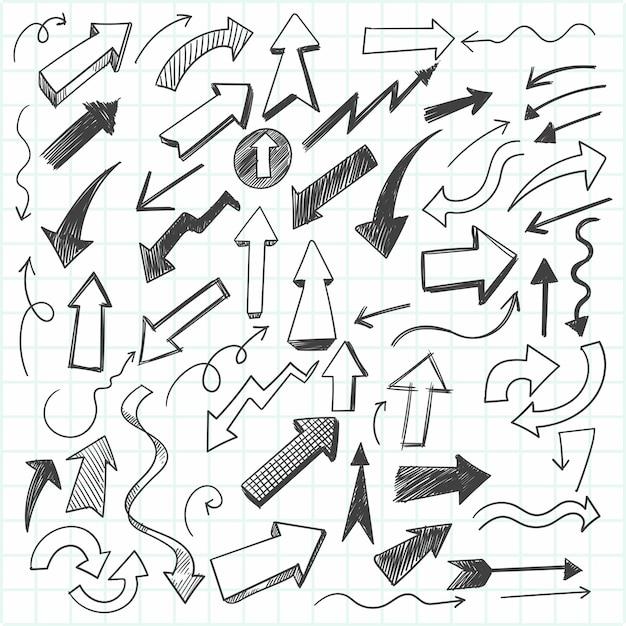 Conjunto de flechas de garabatos dibujados a mano, estilo de dibujo vector gratuito
