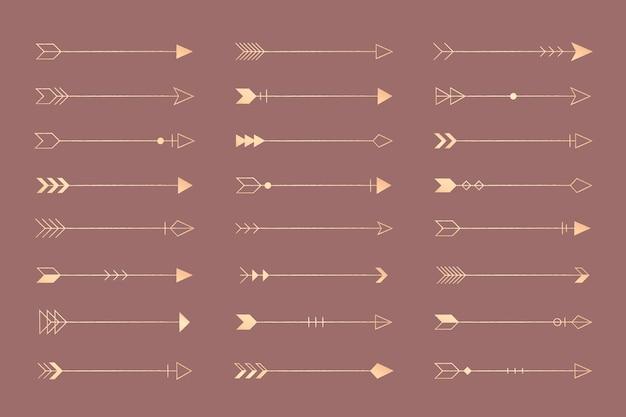 Conjunto de flechas vintage vector gratuito