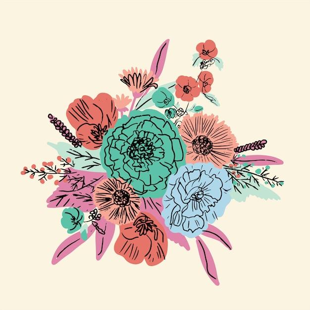 Conjunto floral dibujado a mano Vector Premium