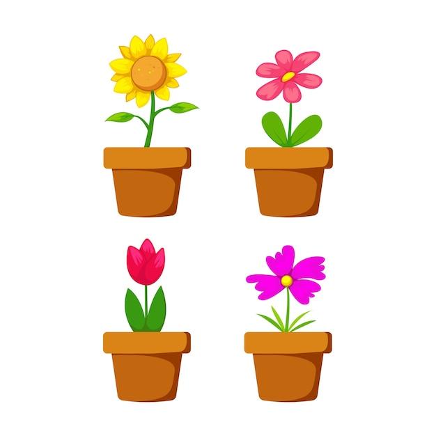 Conjunto de flores en maceta de dibujos animados con girasol y ...