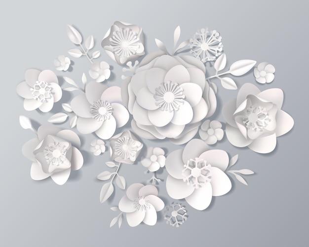 Conjunto de flores de papel blanco realista vector gratuito