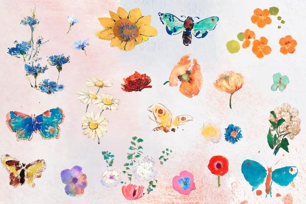 Conjunto de flores de pintura al óleo vector gratuito