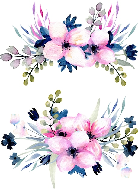 Ramo De Flores Azules Dibujo