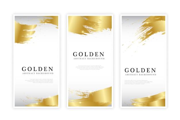 Conjunto de folleto abstracto dorado Vector Premium